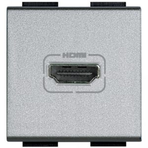Разъем HDMI, винтовое подключение кабеля, LivingLight алюминий 2 модуля
