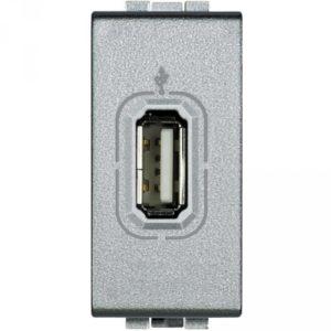 Разъем USB для передачи данных, винтовое подключение кабеля, LivingLight алюминий 1 модуль