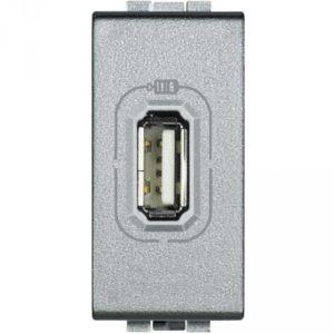 USB розетка 5B= 750 мА для зарядки, 230 В~, алюминий 1 модуль