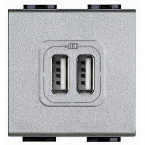 USB розетка двойная 1500 мА для зарядки, 230 В~, Axolute алюминий 2 модуля
