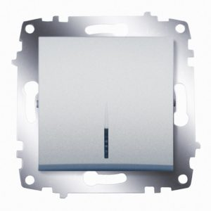 Выключатель 1 клавишный с подсветкой ABB Cosmo алюминий