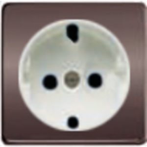 Розетка с заземлением Fede 10-16А/250В, винтовой зажим (графит-белый)