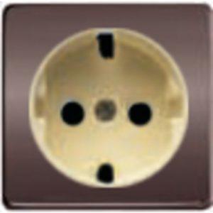 Розетка с заземлением Fede 10-16А/250В, винтовой зажим (графит-бежевый)