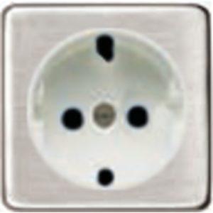 Розетка с заземлением Fede 10-16А/250В, винтовой зажим (никель/белый)