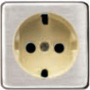 Розетка с заземлением Fede 10-16А/250В, винтовой зажим (никель/бежевый)