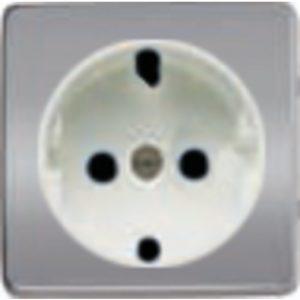 Розетка с заземлением Fede 10-16А/250В, винтовой зажим (блестящий хром/белый)