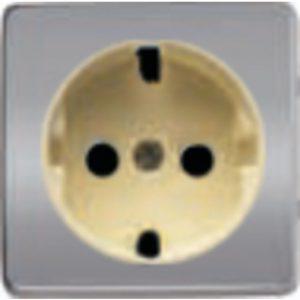 Розетка с заземлением Fede 10-16А/250В, винтовой зажим (блестящий хром/бежевый)