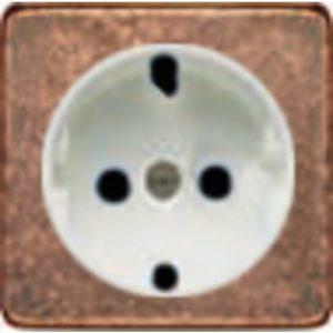Розетка с заземлением Fede 10-16А/250В, винтовой зажим (медь/белый)