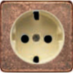 Розетка с заземлением Fede 10-16А/250В, винтовой зажим (медь/бежевый)