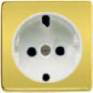 Розетка с заземлением Fede 10-16А/250В, винтовой зажим (светлое золото/белый)