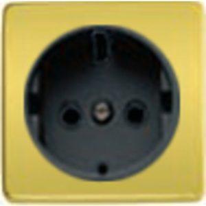 Розетка с заземлением Fede 10-16А/250В, винтовой зажим (светлое золото/черный)