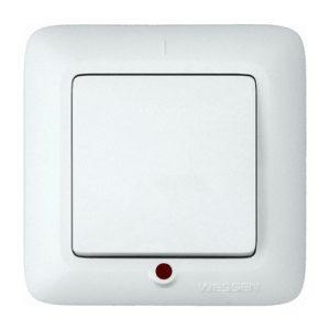 Выключатель одноклавишный с подсветкой скрытой установки Schneider Electric Прима, цвет белый
