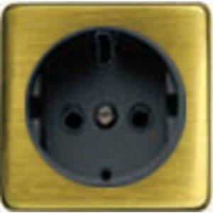 Розетка с заземлением Fede 10-16А/250В, винтовой зажим (светлый бронза/черный)