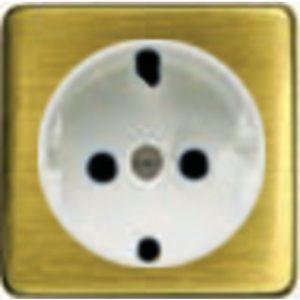 Розетка с заземлением Fede 10-16А/250В, винтовой зажим (светлый бронза/белый)