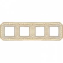 Рамка 4-ая, серия Fede TOSCANA FIRENZE, цвет Gold White patina