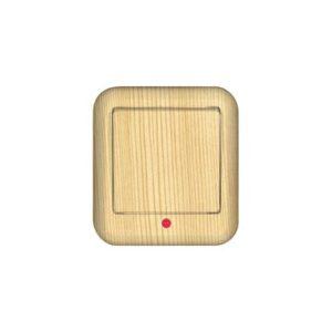 Выключатель одноклавишный с подсветкой изолирующей пластиной открытой установки Schneider Electric Прима, цвет сосна