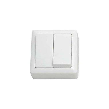Выключатель двухклавишный с изолирующей пластиной открытой установки Schneider Electric Хит, цвет белый