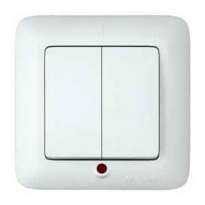 Выключатель двухклавишный с подсветкой скрытой установки Schneider Electric Прима, цвет белый