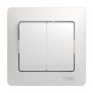 Выключатель двухклавишный Schneider Electric GLOSSA в сборе, цвет белый