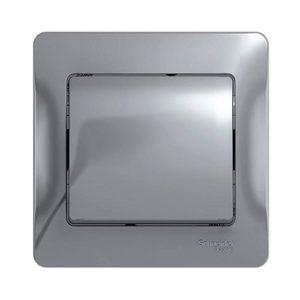 Выключатель одноклавишный Schneider Electric GLOSSA в сборе, цвет алюминий