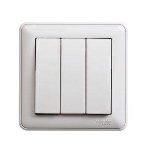 Выключатель трехклавишный Schneider Electric W59 в сборе, цвет белый