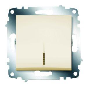 Выключатель 1 клавишный с подсветкой ABB Cosmo кремовый
