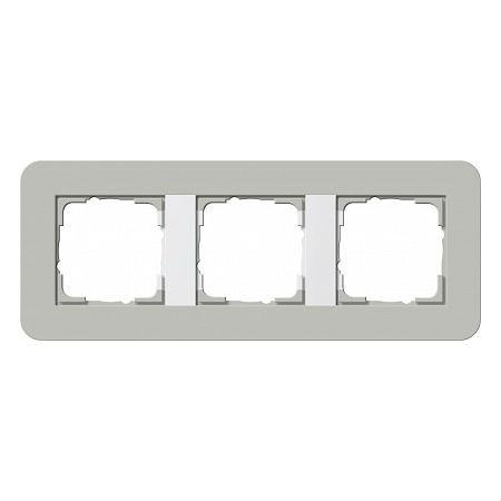 Gira серия E3 Серый/белый глянцевый Рамка 3-ая