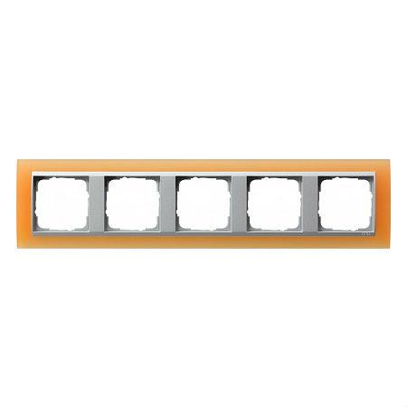 Gira EV Матово-оранжевый/алюминий Рамка 5-ая