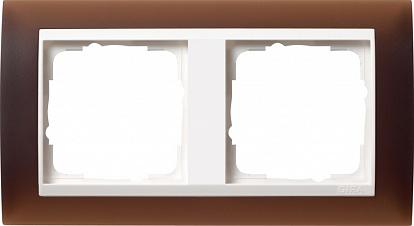 Gira EV Полупрозрачн.коричневая/глянц.бел Рамка 2-ая