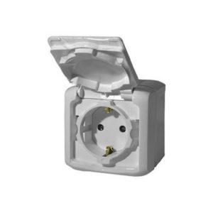 Розетка 2К+З с защитными шторками 16 A 250 В~ Quteo IP 44 серый