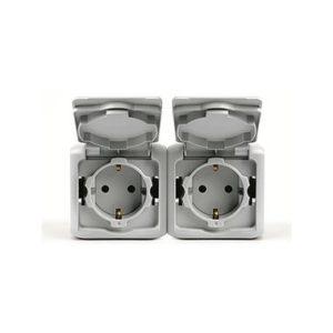 Розетки 2х2К+З с защитными шторками 16 A 250 В~ Quteo IP 44 серый
