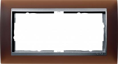 Gira EV Матово-коричневый/алюминий Рамка 2-ая без перегородки