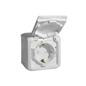 Розетка 2К+З с защитными шторками 16 A 250 В~ Quteo IP 44 белый