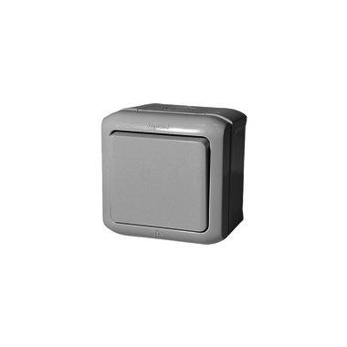 Legrand Выключатель 10A 1 клавишный IP44 серый