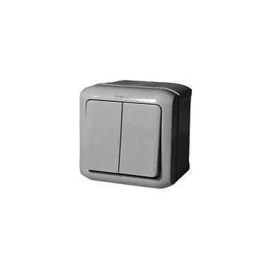 Legrand Выключатель 10A 2 клавишный IP44 серый
