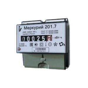Электросчетчик Меркурий 201.7 230В; 5(60)А; кл. т. 1,0; 1 тариф; Имп. выход; ОУ; DIN