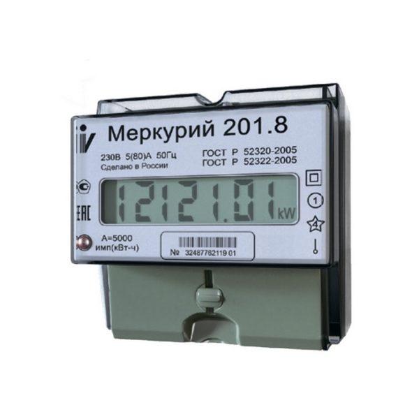 Электросчетчик Меркурий 201.8 230В; 5(80)А; кл. т. 1,0; 1 тариф; Имп. выход; ОУ; DIN