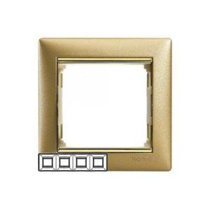 Legrand 770304 Рамка Valena 4 поста матовое золото