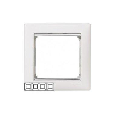 Legrand 770494 Рамка Valena 4 поста горизонтальный монтаж белый/серебряный штрих