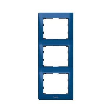 Legrand 771917 Рамка вертикальная 3 поста синий