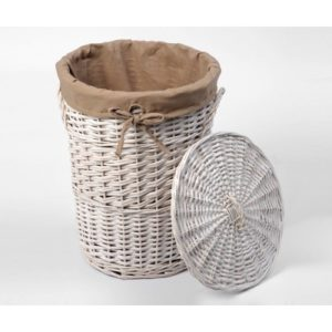 Плетеная корзина для белья с крышкой WasserKRAFT Aller WB-106-M
