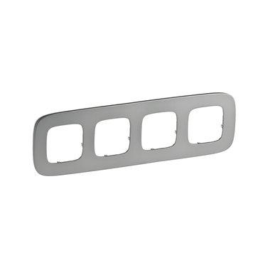 Legrand 755504 Рамка 4 поста Valena Allure полированная сталь