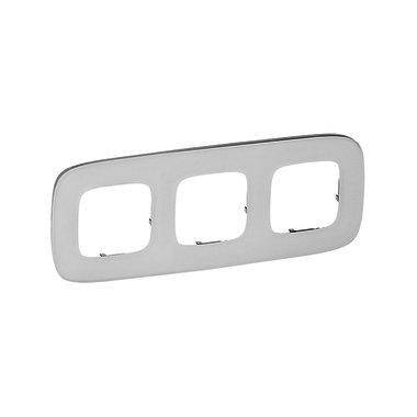 Legrand 755543 Рамка 3 поста Valena Allure белое стекло