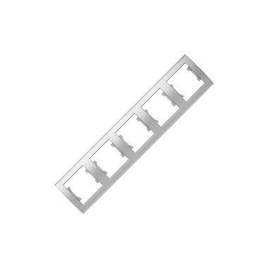 Рамка 5-ти местная горизонтальная UNIVersal Бриллиант, цвет серебро