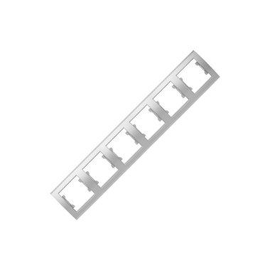 Рамка 6-ти местная горизонтальная UNIVersal Бриллиант, цвет серебро