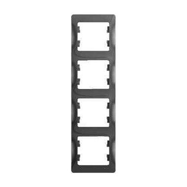 Рамка четырехместная вертикальная Schneider Electric GLOSSA, цвет алюминий
