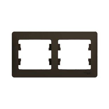 Рамка двухместная горизонтальная Schneider Electric GLOSSA, цвет шоколад