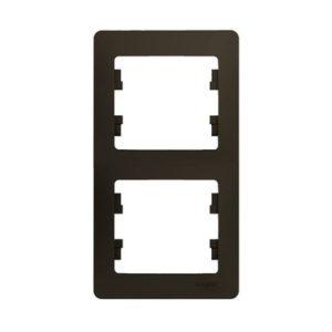 Рамка двухместная вертикальная Schneider Electric GLOSSA, цвет шоколад