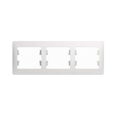 Рамка трехместная горизонтальная Schneider Electric GLOSSA, цвет белый