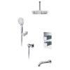 Встраиваемый комплект для ванны с верхней душевой насадкой лейкой и изливом WasserKRAFT А171568 Thermo